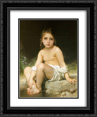 Child at Bath 20x24 Black or Gold Ornate Framed and Double Matted Art Print by William Adolphe Bouguereau
