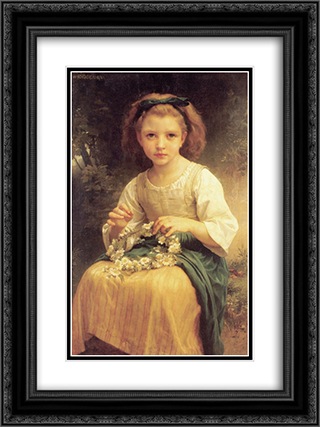 Child Braiding A Crown 18x24 Black or Gold Ornate Framed and Double Matted Art Print by William Adolphe Bouguereau