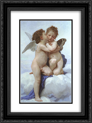 Cupid and Psyche 18x24 Black or Gold Ornate Framed and Double Matted Art Print by William Adolphe Bouguereau