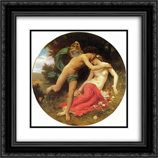 Cupid and Psyche 20x20 Black or Gold Ornate Framed and Double Matted Art Print by William Adolphe Bouguereau