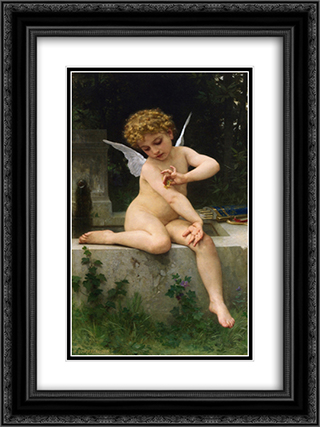 Cupid with Butterfly 18x24 Black or Gold Ornate Framed and Double Matted Art Print by William Adolphe Bouguereau