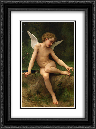 Cupid with Thorn 18x24 Black or Gold Ornate Framed and Double Matted Art Print by William Adolphe Bouguereau