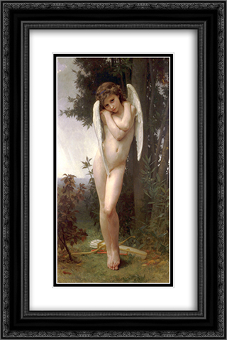 Cupidon 16x24 Black or Gold Ornate Framed and Double Matted Art Print by William Adolphe Bouguereau