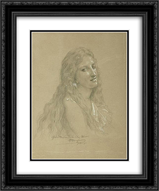 Drawing of a Woman 20x24 Black or Gold Ornate Framed and Double Matted Art Print by William Adolphe Bouguereau