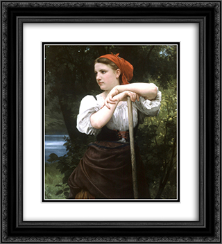 Faneuse 20x22 Black or Gold Ornate Framed and Double Matted Art Print by William Adolphe Bouguereau