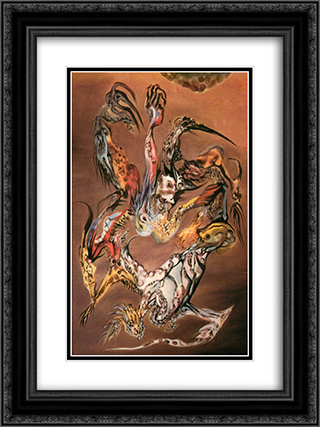 Combat de princes saturniens III 18x24 Black or Gold Ornate Framed and Double Matted Art Print by Wolfgang Paalen