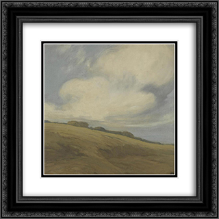 Clouds over a California hillside 20x20 Black or Gold Ornate Framed and Double Matted Art Print by Xavier Martinez