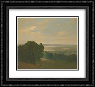 Eucalyptus Grove in a Vast Landscape 22x20 Black or Gold Ornate Framed and Double Matted Art Print by Xavier Martinez