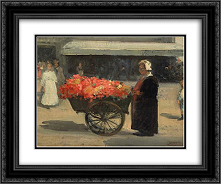 Flower Merchant in Paris 24x20 Black or Gold Ornate Framed and Double Matted Art Print by Xavier Martinez