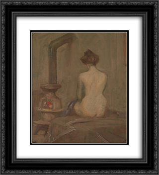 Girl Dressing 20x22 Black or Gold Ornate Framed and Double Matted Art Print by Xavier Martinez