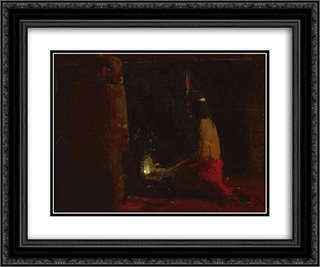 Hopi Indian at a hearth 24x20 Black or Gold Ornate Framed and Double Matted Art Print by Xavier Martinez