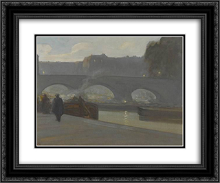 Pont Neuf, Paris 24x20 Black or Gold Ornate Framed and Double Matted Art Print by Xavier Martinez