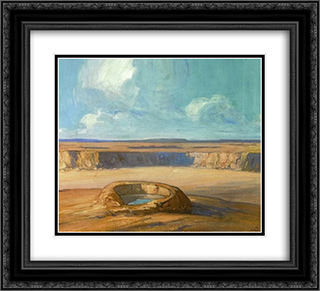 The Waterhole 22x20 Black or Gold Ornate Framed and Double Matted Art Print by Xavier Martinez