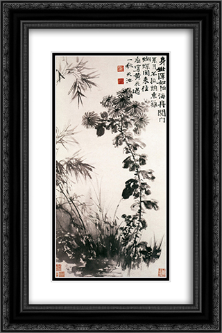 Chrysanthemums and Bamboos 16x24 Black or Gold Ornate Framed and Double Matted Art Print by Xu Wei