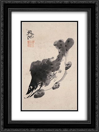 Fish 18x24 Black or Gold Ornate Framed and Double Matted Art Print by Xu Wei
