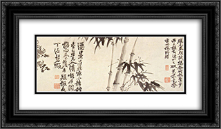 Twelve Plants and Calligraphy 24x14 Black or Gold Ornate Framed and Double Matted Art Print by Xu Wei