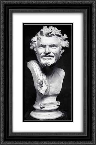 Head of Satyr 16x24 Black or Gold Ornate Framed and Double Matted Art Print by Yannoulis Chalepas