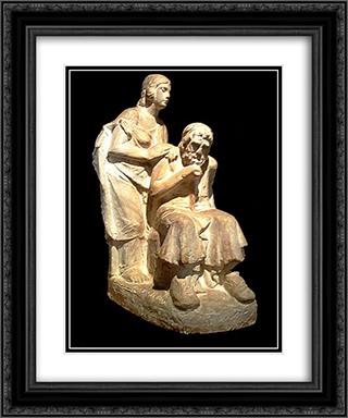 Oedipus and Antigone 20x24 Black or Gold Ornate Framed and Double Matted Art Print by Yannoulis Chalepas