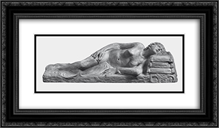 Resting 24x14 Black or Gold Ornate Framed and Double Matted Art Print by Yannoulis Chalepas