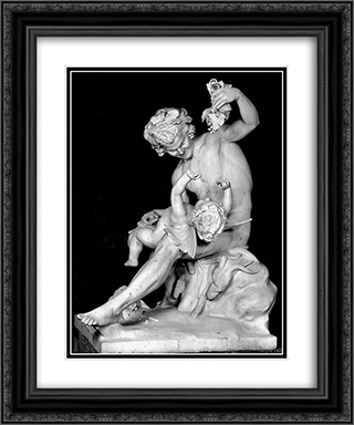 Satyr plays with Eros 20x24 Black or Gold Ornate Framed and Double Matted Art Print by Yannoulis Chalepas