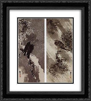 A Black Hawk and Two Crows 20x22 Black or Gold Ornate Framed and Double Matted Art Print by Yosa Buson