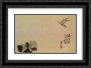 A little cuckoo across a hydrangea (Haiga) 24x18 Black or Gold Ornate Framed and Double Matted Art Print by Yosa Buson