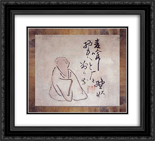 Haiku Poet and His Poem () 22x20 Black or Gold Ornate Framed and Double Matted Art Print by Yosa Buson