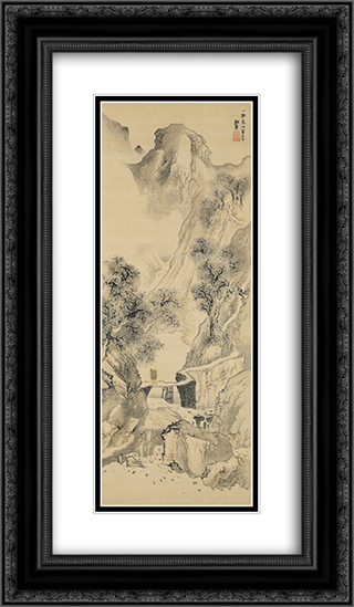 Landscape with a Solitary Traveler 14x24 Black or Gold Ornate Framed and Double Matted Art Print by Yosa Buson