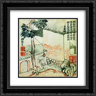 Sengyo (Jugijo) 20x20 Black or Gold Ornate Framed and Double Matted Art Print by Yosa Buson