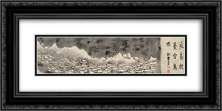 Snowclad houses in the night 24x12 Black or Gold Ornate Framed and Double Matted Art Print by Yosa Buson