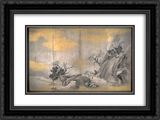Travelers on Horseback on a Mountain in Spring 24x18 Black or Gold Ornate Framed and Double Matted Art Print by Yosa Buson