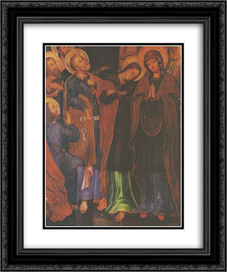Fragment of the icon The Elevation of Christ into Heaven from the Maniava Hermitage iconostasis 20x24 Black or Gold Ornate Framed and Double Matted Art Print by Yov Kondzelevych