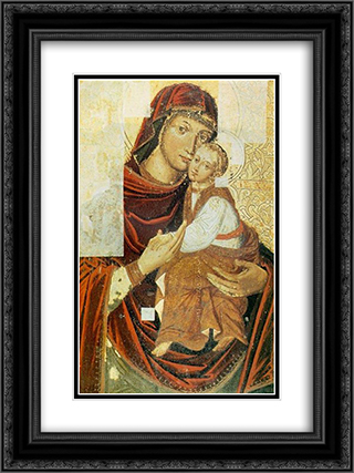 Icon of the Mother of God from the Bilostok Monastery iconostasis 18x24 Black or Gold Ornate Framed and Double Matted Art Print by Yov Kondzelevych