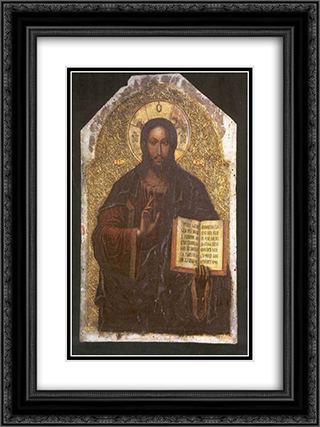 Icon of the Savior from the Maniava Hermitage iconostasis1698 18x24 Black or Gold Ornate Framed and Double Matted Art Print by Yov Kondzelevych