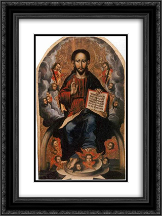 Icon of the Savior from the village of Horodyshche in Volhynia (late 17th century) 18x24 Black or Gold Ornate Framed and Double Matted Art Print by Yov Kondzelevych