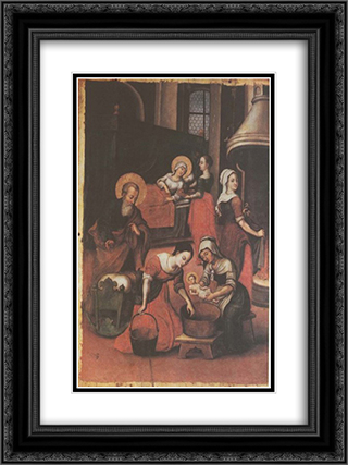 Icon The Nativity of Virgin Mary (fragment) 18x24 Black or Gold Ornate Framed and Double Matted Art Print by Yov Kondzelevych