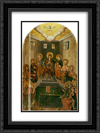 The Descent Of The Holy Spirit 18x24 Black or Gold Ornate Framed and Double Matted Art Print by Yov Kondzelevych