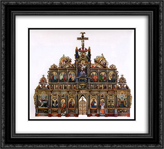 The Maniava Hermitage iconostasis 22x20 Black or Gold Ornate Framed and Double Matted Art Print by Yov Kondzelevych