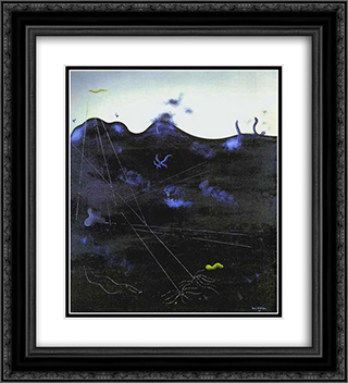 Blue Bed 20x22 Black or Gold Ornate Framed and Double Matted Art Print by Yves Tanguy