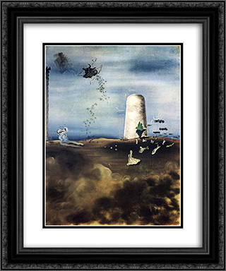 Death Awaiting his Family 20x24 Black or Gold Ornate Framed and Double Matted Art Print by Yves Tanguy