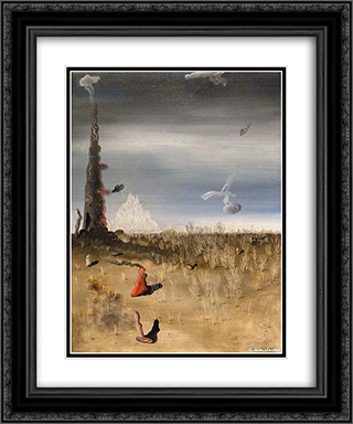 Extinction of Useless Lights 20x24 Black or Gold Ornate Framed and Double Matted Art Print by Yves Tanguy