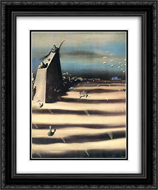 Large Painting Representing a Landscape 20x24 Black or Gold Ornate Framed and Double Matted Art Print by Yves Tanguy