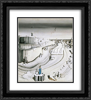 Promontory Palace 20x22 Black or Gold Ornate Framed and Double Matted Art Print by Yves Tanguy