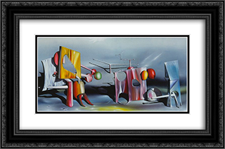 Reply to Red 24x16 Black or Gold Ornate Framed and Double Matted Art Print by Yves Tanguy