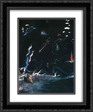 Storm(Black Landscape) 20x24 Black or Gold Ornate Framed and Double Matted Art Print by Yves Tanguy