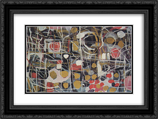 (Abstract) 24x18 Black or Gold Ornate Framed and Double Matted Art Print by Bui Xuan Phai
