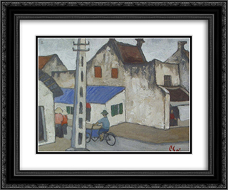 (Ancient Hanoi Street) 24x20 Black or Gold Ornate Framed and Double Matted Art Print by Bui Xuan Phai