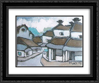 Hanoi 24x20 Black or Gold Ornate Framed and Double Matted Art Print by Bui Xuan Phai