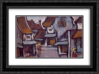Hanoi Street, ND 24x18 Black or Gold Ornate Framed and Double Matted Art Print by Bui Xuan Phai