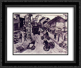 Hanoi Street 24x20 Black or Gold Ornate Framed and Double Matted Art Print by Bui Xuan Phai